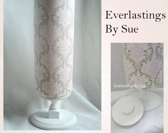 Headband Holder with Stand - Pink and Taupe Damask Fabric - Headband Organizer by Everlastings By Sue