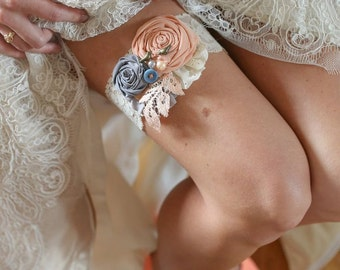 Rustic Country Lace & Birds Wedding Garter Set Dusty Rose Pink and Ivory -Custom Made to Order- Vintage Rustic Wedding