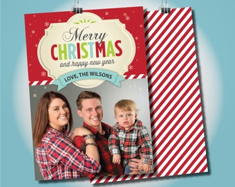 Photo Christmas Card, 5x7 Christmas Card, Christmas Photo Card, Merry Christmas Holiday Card, Holiday Card, Photo Holiday Card