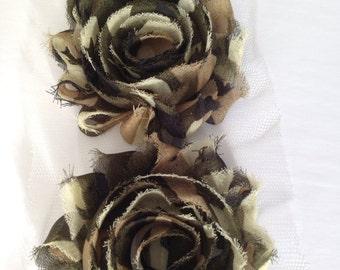 camo Chiffon flower shabby frayed rosette