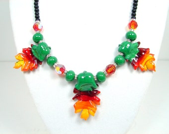 Leaf Lampwork Necklace, Red Orange Green Leaf Pendant, Onyx Leaf Necklace, Glass Bead Necklace, Lampwork Jewelry