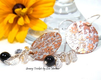 Flower Earrings, Floral Earrings, Dangle Earrings, Mixed Metal Earrings, Etched Copper Jewelry, Christmas Gift for Her, Women Accessories