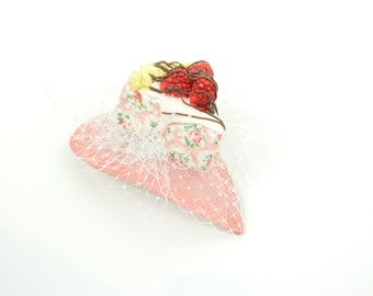 Fascinator Headpiece with Vintage Shabby Chic Cheesecake with Veil - Birthday Party Hat