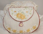 Cream Embroidered Bag from recycled vintage linens entirely hand stitched by Lynwoodcrafts