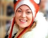 Fox Hat, Winter Woodland Animal Larp fancy dress costume unisex mans hat womans hat
