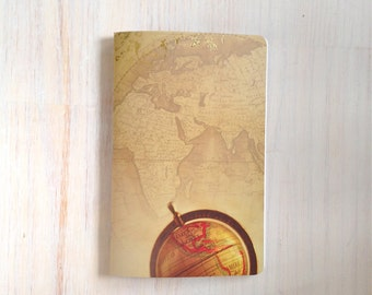 Large Notebook: Map, Travel, Favor, Notebook, Unlined, Journal, For Her, For Him, Gift, Unique, Blank Journal, Stocking Stuffer, L8-076