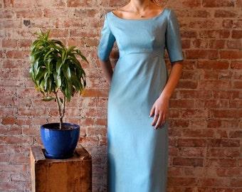 1960s Prom Dress - Bow - Maxi - Long - Full Length Dress - Formal - Linen - Empire Waist - Small Size