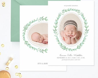 SALE Birth Announcement Template, Birth Announcement Template Boy, Photography Templates, Birth Announcement Card for Photoshop - BA174