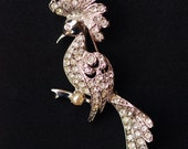 Pave Rhinestone Brooch Vintage Bird Pin Art Deco Peacock Paste Pearl Cockatoo