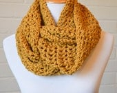 Crochet Chunky Cotton Infinity Scarf - Mustard Yellow
