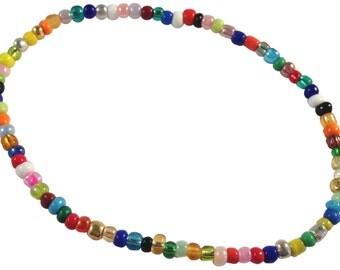 ANKLET Slim Multi-Colour Glass Seed Beads on Elastic Plain Design
