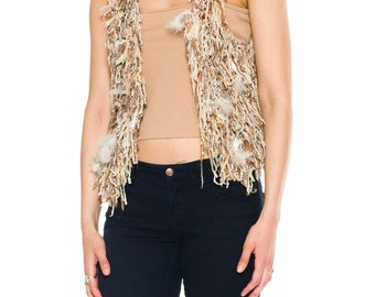 1980s Vintage Vest of Feathers and Fringe.   Size: S/M