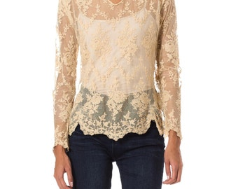 1900s Vintage Sheer Beige Mesh Top with Floral Embroidery  Size: S/M