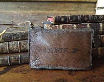 Vintage French La Poste Leather Clutch Case ~ Wallet ~ Art Supplies