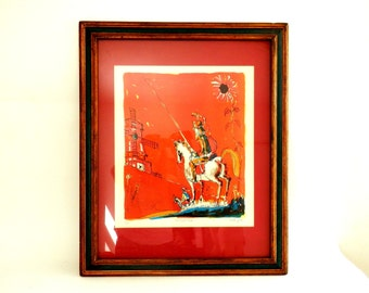 Observing the Monster Don Quixote  Wood Cut Block Print Mid Century Modern