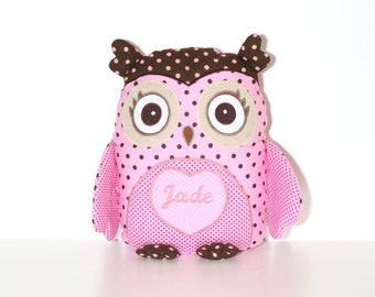 Pink Owl, Owl Pillow, Owl Baby Shower, Custon Owl, Personalized Owl, Pink Chocolate