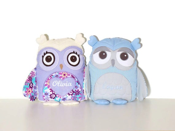 Owl Pillows (2), Organic Owl, Kid Bedroom Decor,  Stuffed owl