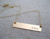 Gold Name Bar Necklace - Gold Name Plate Necklace - Personalized Hand Stamped Jewelry