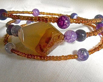 Agate Purple Dragon Vein Bracelet Amber Toho Beads Memory Wire One Size Fits Most Ageless Casual to Party Wear Gift