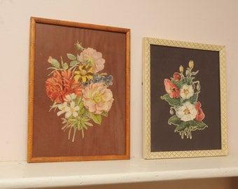 Vintage Floral Print Original Frame Cottage