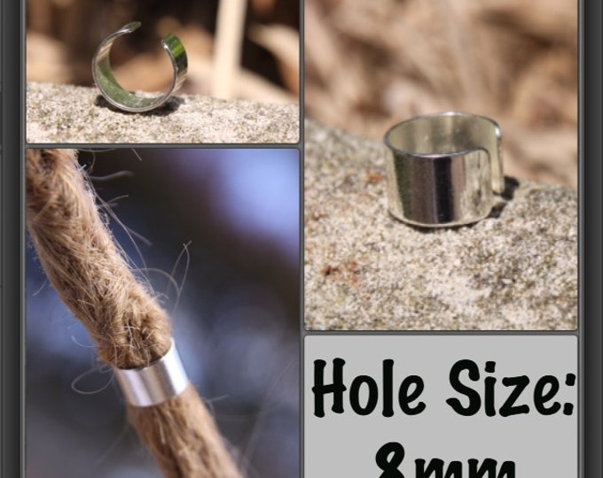 4 Silver plated cuffs Dreadlock beads (8mm/0.31 inch hole)