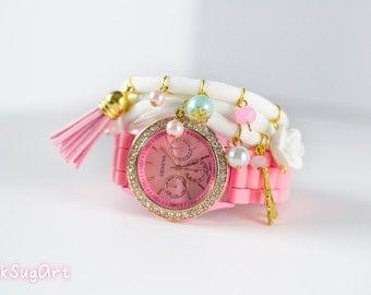 Watch and Bracelet Set, Pink Watch, Triple Wrap Bracelet, Lycra Bracelet, Pink Gold Bracelet, Gold Watch, Eiffel Tower Bracelet, Neon Watch