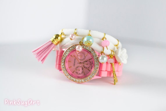 Bracelet and Watch Set Pink White Triple Wrap Bracelet Lycra Bracelet And Watch Set With Gold Charms Pearls Eiffel Tower Bracelet