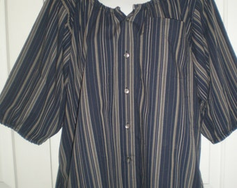 "Peasant Blouse upcycled from a men's shirt 50"", ladies size Large, navy and grey stripe, marks on hem"