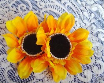 Barrette - French Barrette - Yellow Sun Flower Barrette - Yellow Sun Flower French Barrette - Summer Flower Barrette - Bling Flower Barrette
