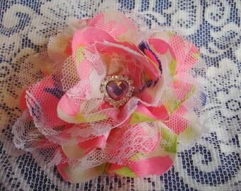 Flower Ponytail Holder - Flower Hair Tie - Fabric & Lace Ponytail Hair Tie - Bright Ponytail Holder - Large Hair Tie - Boutique Ponytail