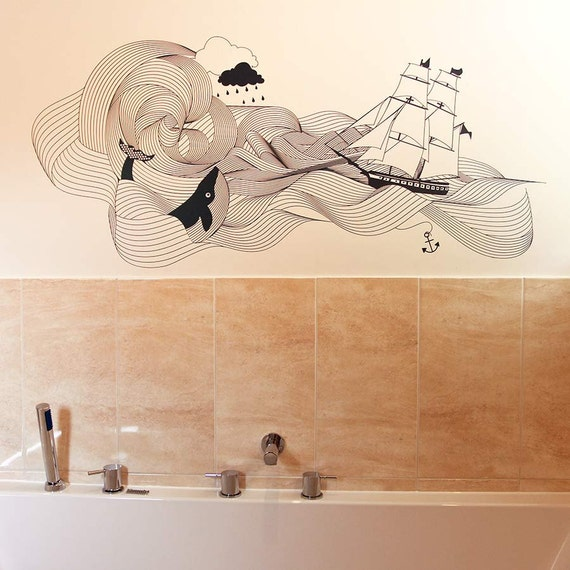 nautical waves wall sticker decal