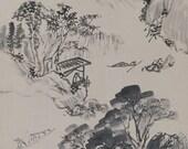 Japanese Fine Art Painting Inkuwash Landscape Sansui Hanging Scroll kakejiku– 110719