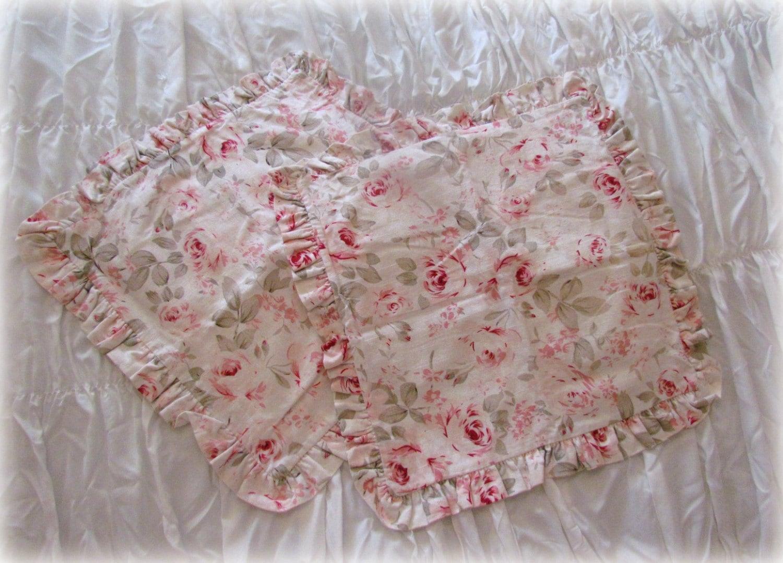 Shabby Chic Ruffled Pillow Shams : Shabby Chic Rosalie Ruffled pillow Sham Pair