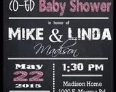 COUPLES BABY SHOWER invitation - Chalkboard Shower Invitation, Baby Elephant  Baby Shower