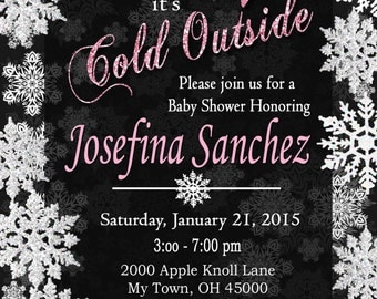 Baby Its Cold Outside Baby Shower Invitation. Winter Baby Shower Glitter Baby Shower Invitation, Glam Baby Shower, Snowflake Baby Shower