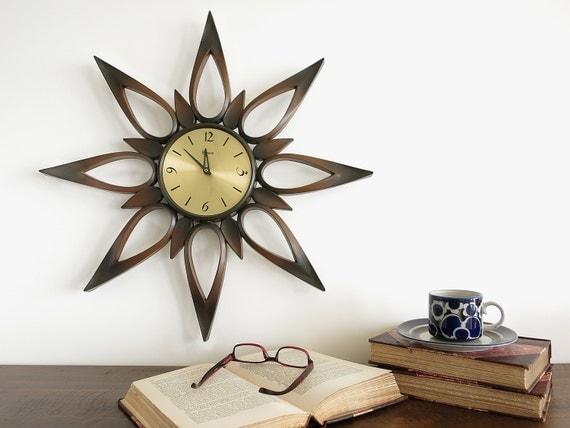 Vintage Syroco Atomic Starburst Wall Clock Syracuse