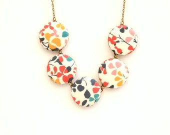 Liberty of London Five Button Fabric Necklace in Nina Taylor