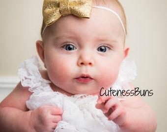 baby girl headband, gold headband, newborn headband, Baby Headbands, glitter bow, Hairbow, Baby Bows, baby girl, glitter bow head band, bow