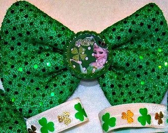 Frozen Elsa Lucky St Patrick's Shamrock Green Sequin Bow Stretchy Headband