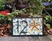 Beach House Address Sign // Mosaic House Numbers with Starfish