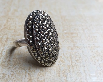Vintage Marcasite Victorian Ring Oval Cocktail Ring Sterling Size 6-1/4  to 6-1/2 - TT Team