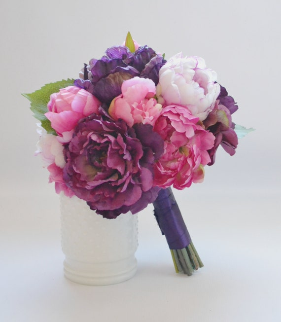 Peony bouquet fucsia melanzana rosa viola di blueorchidcreations