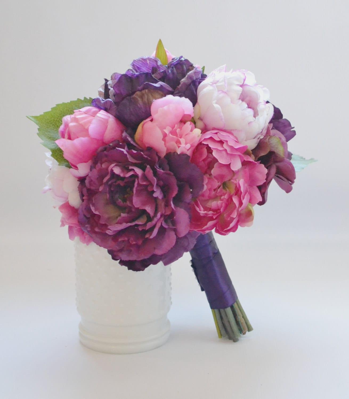 Peony Bouquet Fuchsia Eggplant Pink Purple Peony