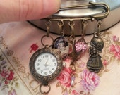 Darling art nouveau vintage girl pin brooch with charms and watch - antique brass