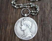 Vintage French Marianne Medal Necklace, Sterling Silver Pyrite Gemstone Chain