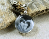 Glass Locket, New Mom Mommy Necklace, Keepsake Necklace, Heirloom, Remembrance Necklace, Antique Finish, New Baby Jewelry, Sterling Silver