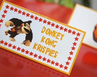 Donkey Kong DIY Printable Party Food Table Tent Labels