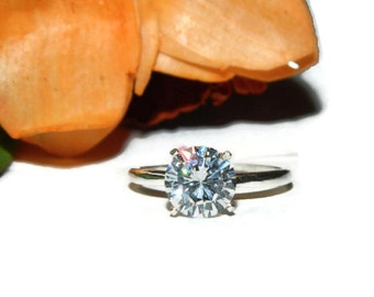 Engagement Ring, Solitaire Ring, 3.75 Carat Ring, Diamond Simulant Ring