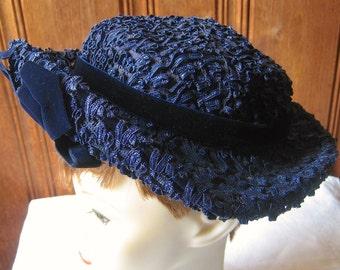 """Girls' Designer Formal / Sunday Hat - Vintage Jeanne et Jaques Blue Filigree Mesh Hat with Velvet Band, Bow - Kids' / Child's Hat - 20"""" Band"""
