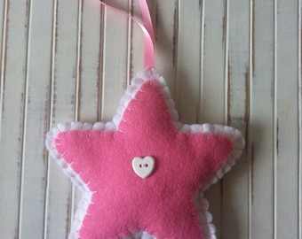 SALE ~ Handmade Felt Stars ~ Blue / Pink / Lilac ~ Nursery decoration